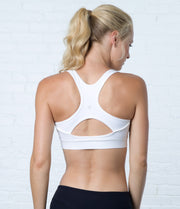 Keyhole Sports Bra, color-white