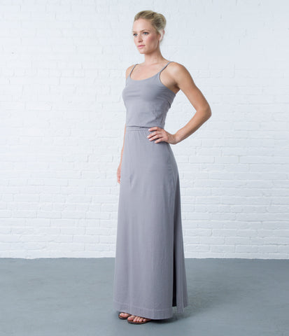 pima maxi dress - storm front stripe