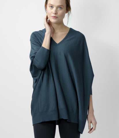Merino Cocoon Sweater, color-vintage-indigo