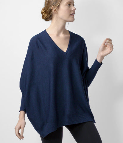 Merino Cocoon Sweater, color-peacoat-melange