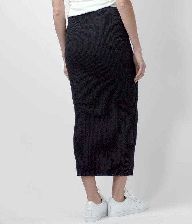 Merino Long Skirt, color-black-melange