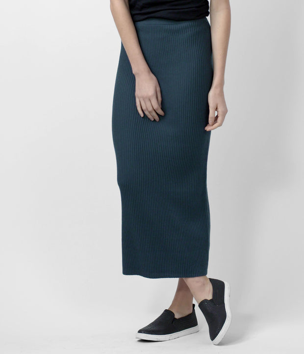 Merino Long Skirt, color-vintage-indigo