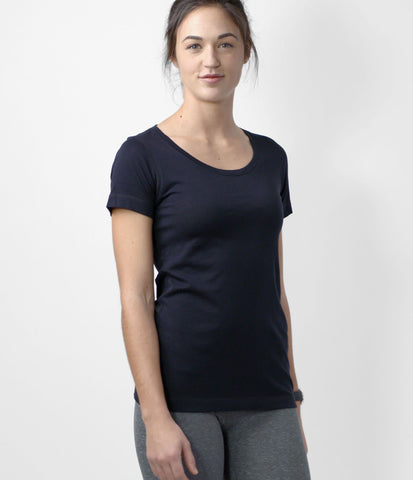 Pima Scoop Neck Tee, color-black