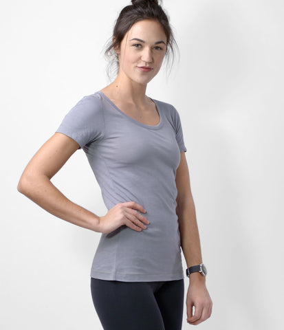 Pima Scoop Neck Tee, color-quicksilver