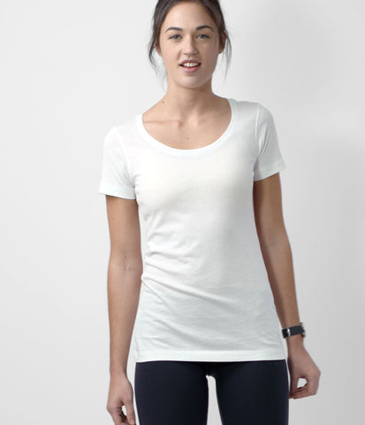 Pima Scoop Neck Tee, color-white