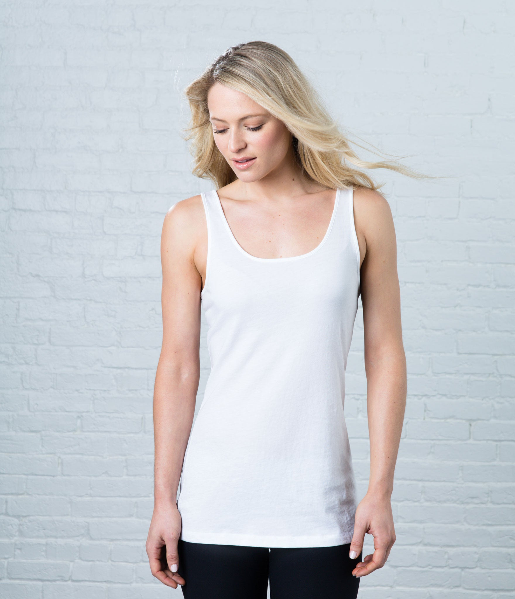 Pima Scoop Tank, color-white