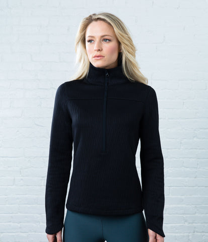 Quilted Pullover, color-black