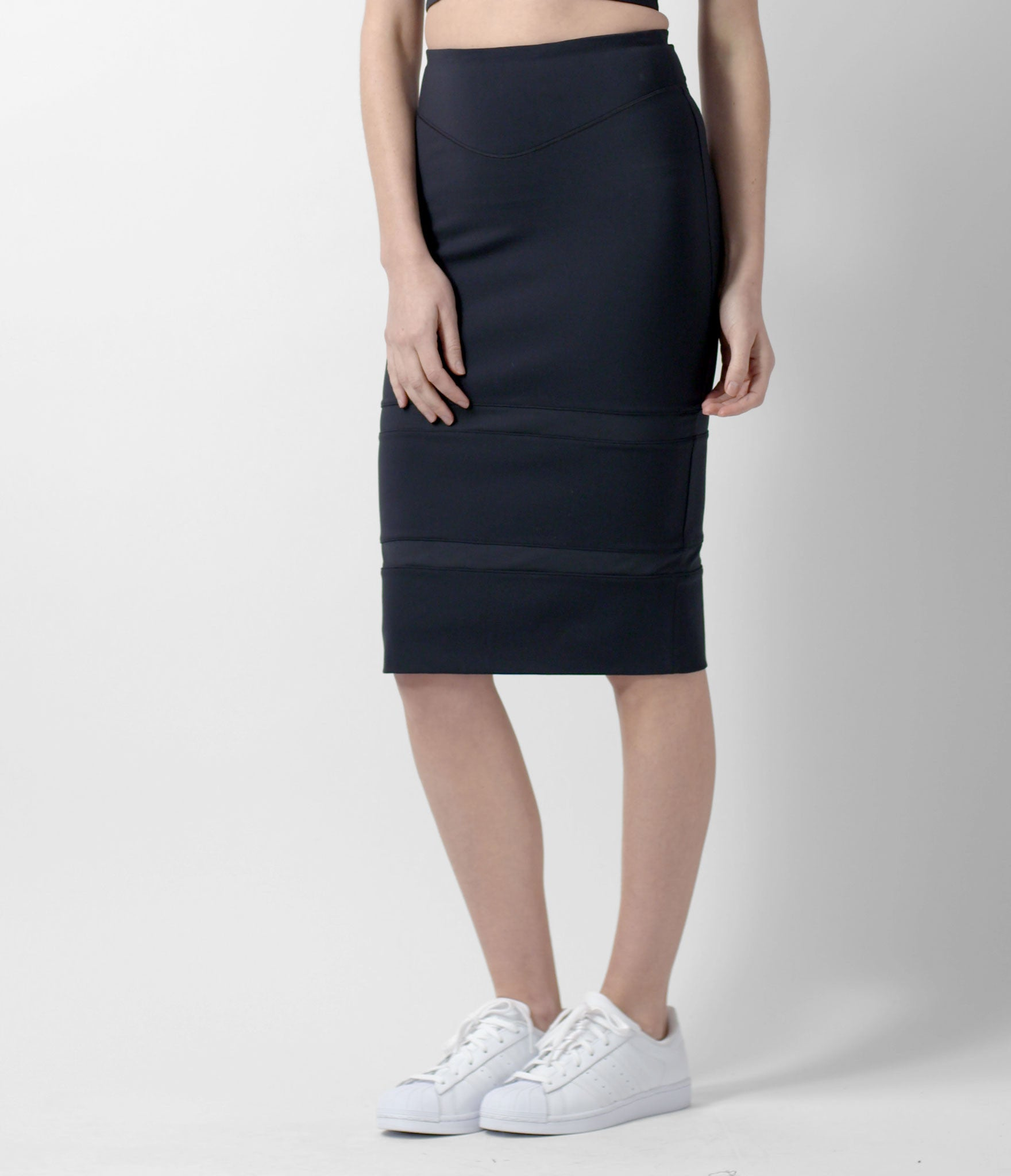 Short Pencil Skirt, color-black