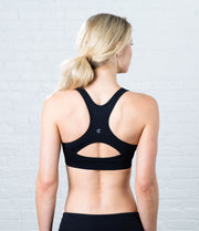 Keyhole Sports Bra, color-black