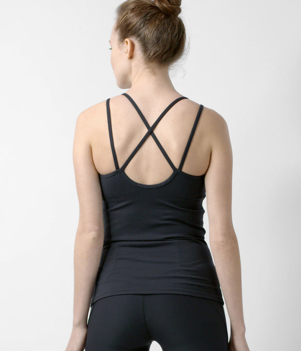Strappy Tank, color-black