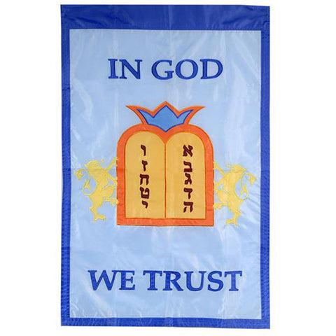 In God We trust - Porch banner with Hebrew - Rock of Israel