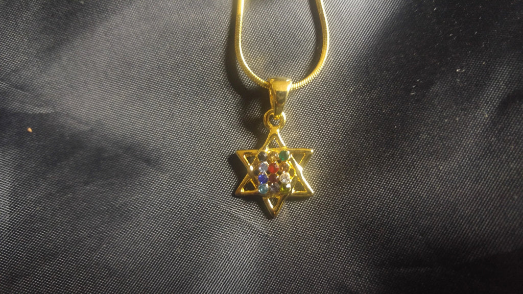 Messianic Necklace star of David w/ high priest 12 stones