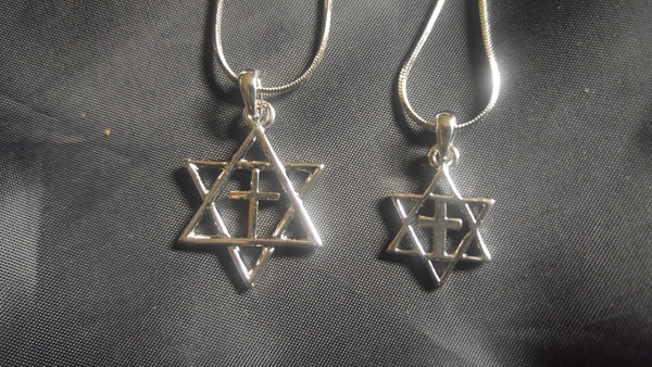 Messianic Necklace star of David w/ cross - Rock of Israel Store