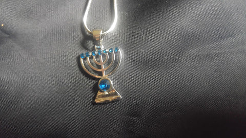 Necklace tiny menorah with blue stones