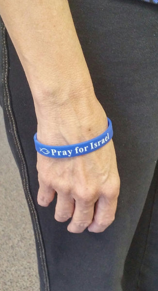Pray for Israel rubber wrist band - Rock of Israel