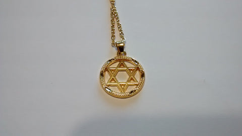 Circle and Star of David Necklace