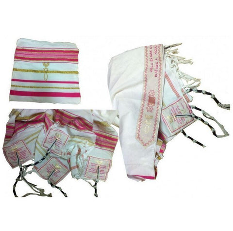 Pink Tallit (Prayer Shawl) for women - Rock of Israel