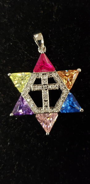 Jewish star with Cross necklace - Multi colors - Gold plated
