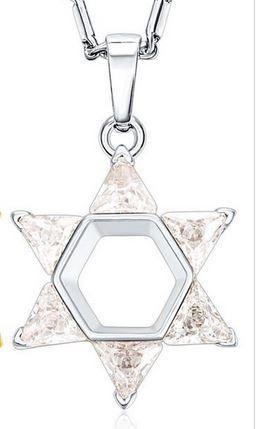 Star of David w/ cubic zirconia clear stones - Rock of Israel