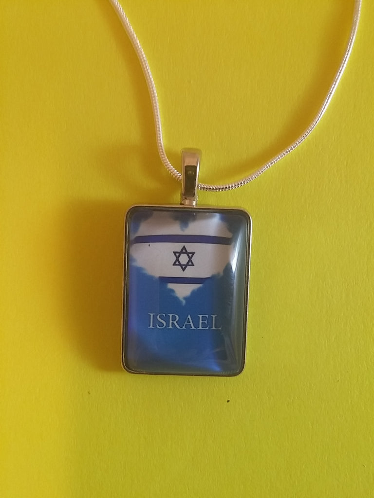 Israeli flag heart necklace