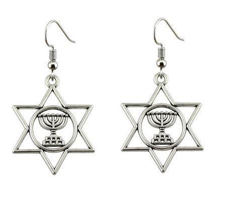 Menorah in Star of David Earrings - Rock of Israel