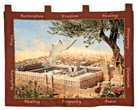 Jerusalem Tapestry with Dove - Rock of Israel