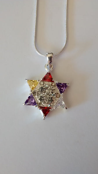 Jewish Star multi-color with cross necklace - Rock of Israel