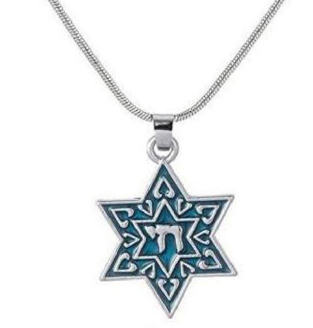 Star of David blue with Chai necklace - Rock of Israel
