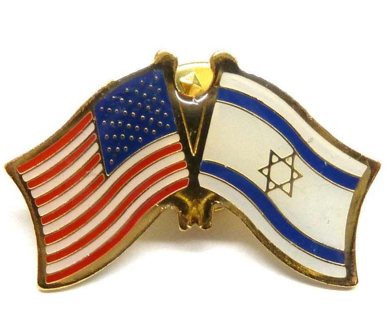 Israel / American Flag pin - Rock of Israel