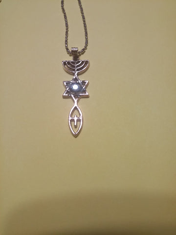 Messianic Symbol Necklace with cubic zirconia - Rock of Israel Store