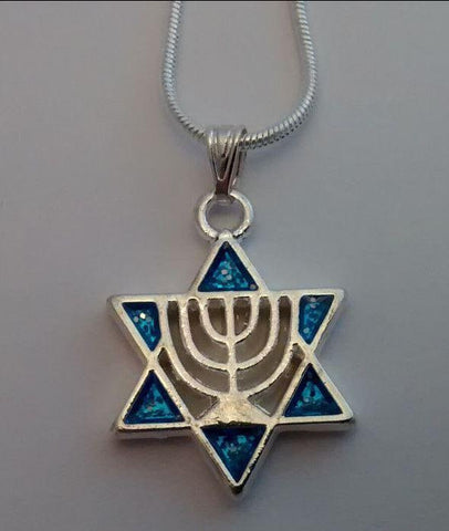Star of David with menorah blue necklace - Rock of Israel