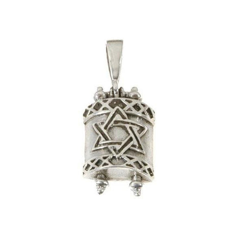 Torah Scroll with Star of David Necklace Sterling Silver - Rock of Israel