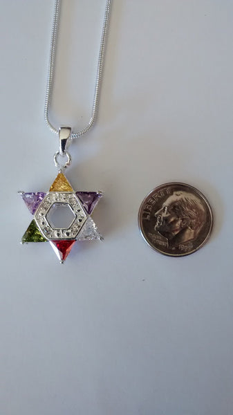 Jewish Star multi-color necklace - Rock of Israel