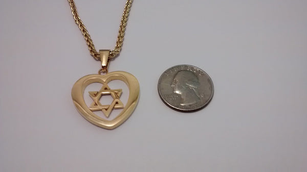 Star of David in Heart necklace - Rock of Israel