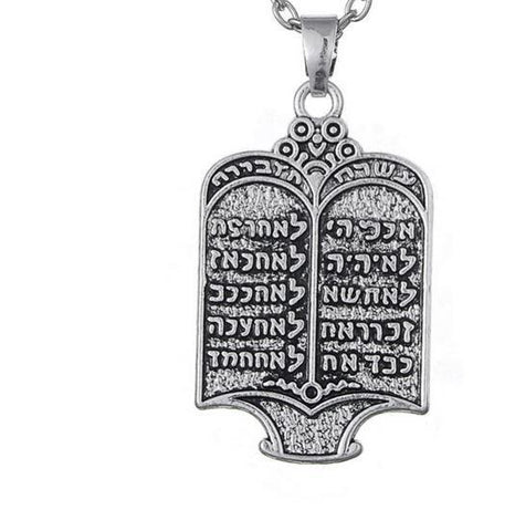 10 Commandments in Hebrew Necklace - Rock of Israel