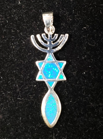Messianic Jewish Symbol Necklace. Blue Opal. Grafted In. Silver 925