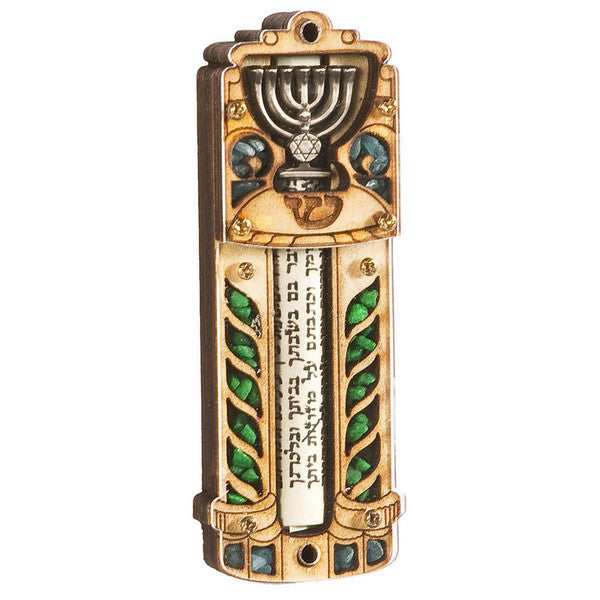 Mezuzah wood with Menorah - Rock of Israel