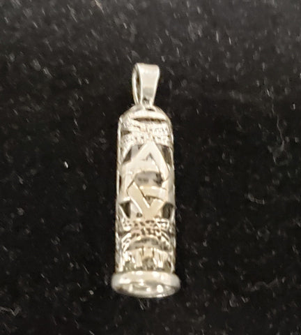 Mezuzah necklace with scroll inside. Silver 925 - Rock of Israel Store