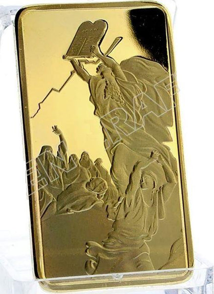 Moses on Mt. Sinai / Simulated Gold Ingot Bullion Bar - Rock of Israel Store