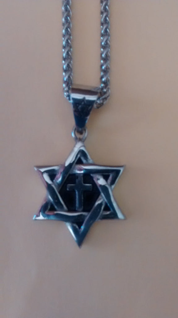 Jewish Star with cross Necklace (silver color) - Rock of Israel