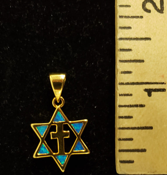 Jewish star with cross necklace.  w/ Blue Opal Gold Plated. - Rock of Israel Store