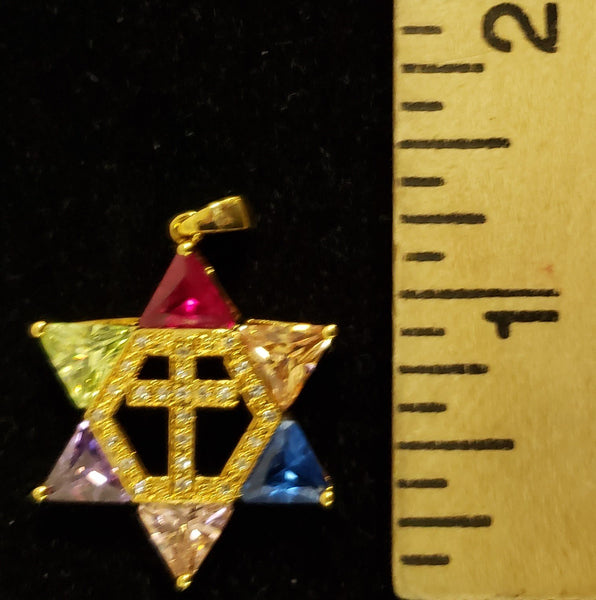 Jewish star with Cross necklace - Multi colors - Gold plated - Rock of Israel Store