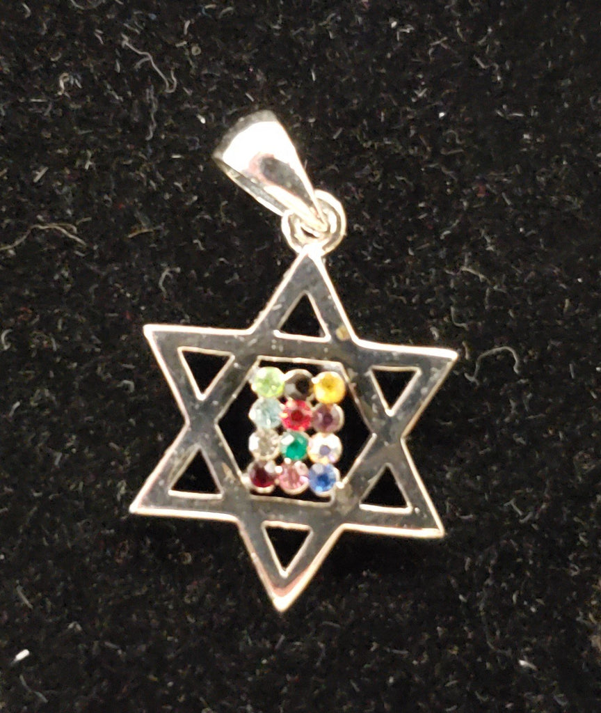 Jewish star with High Priest Breastplate necklace. Silver 925 - Rock of Israel Store