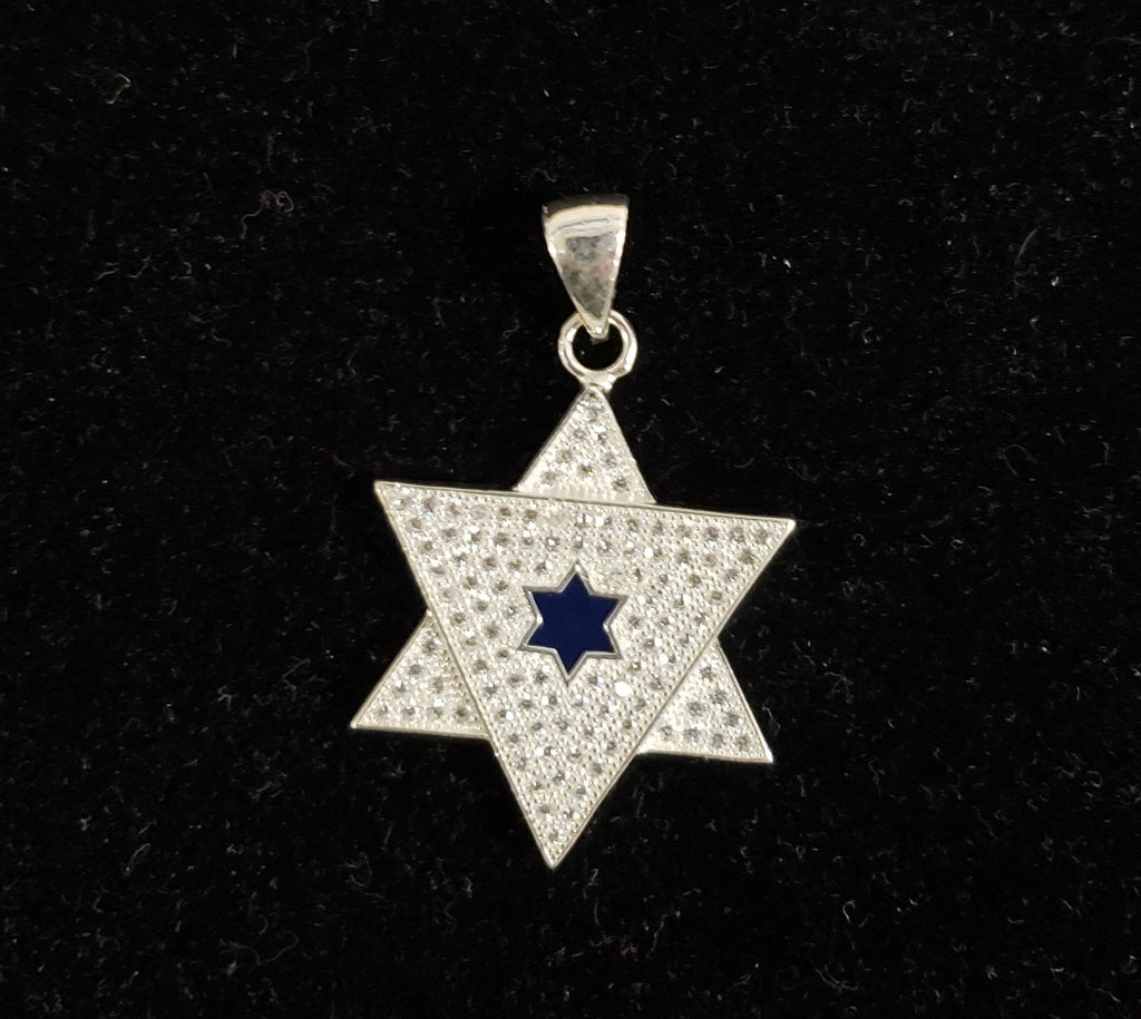 Jewish star with Blue center necklace. Silver 925