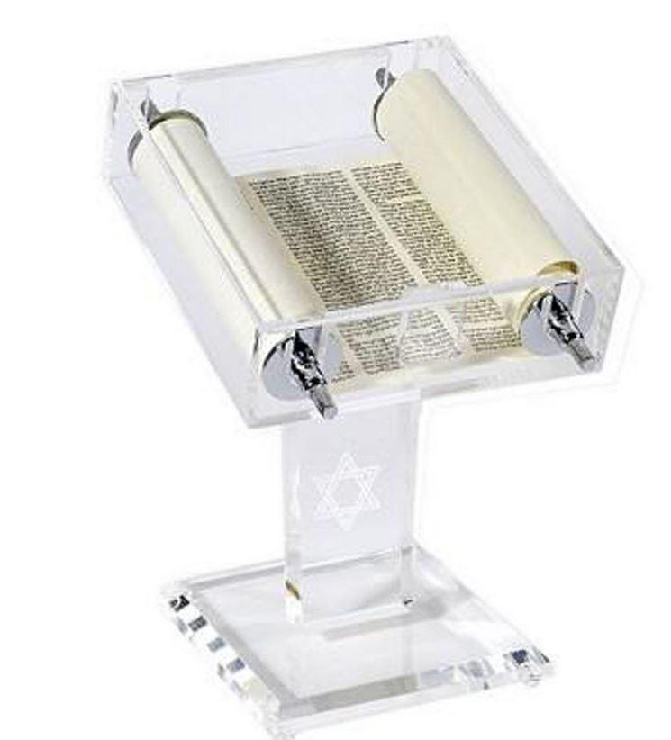 Torah Scroll in Clear Display Case - Rock of Israel