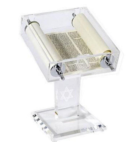 Torah Scroll in Clear Display Case