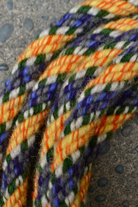 Yellow, Purple, and Green Split Reins