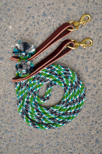 Green, Blue, and Grey Loop Reins