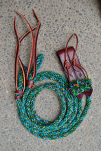 Green Split Reins with Blue and Purple Fleck