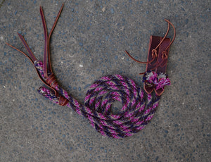 Magenta and Brown Split Reins